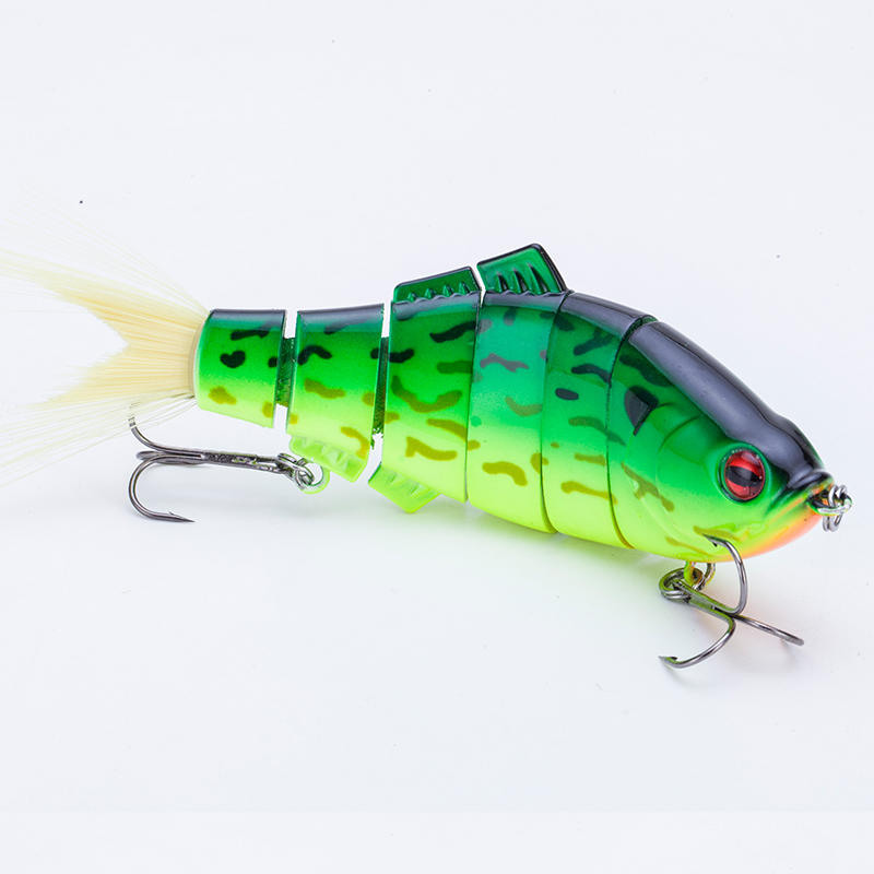 FISHING LURE 5.5INCH 6 JOINTED PLASTIC TAIL SWIM BAIT WITH 3D LURE EYES - YL28